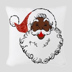 sequin African santa claus Woven Throw Pillow