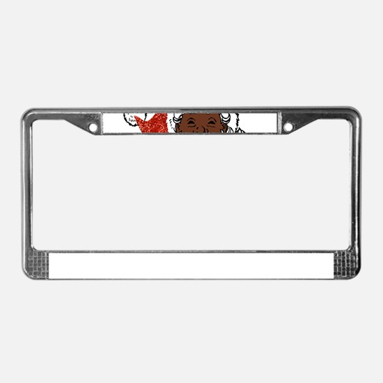 sequin African santa claus License Plate Frame