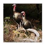 Two Turkeys on a Log Tile Coaster