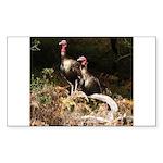 Two Turkeys on a Log Rectangle Sticker
