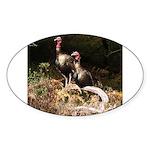 Two Turkeys on a Log Oval Sticker