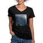 Christmas Star Mural Women's V-Neck Dark T-Shirt