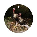 Two Turkeys on a Log Ornament (Round)