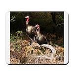 Two Turkeys on a Log Mousepad