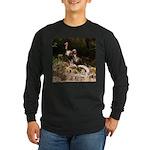 Two Turkeys on a Log Long Sleeve Dark T-Shirt