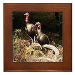 Two Turkeys on a Log Framed Tile