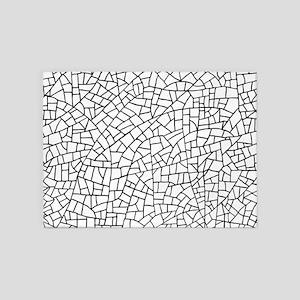 Craquelure Pattern - Black on White 5'x7'Area Rug