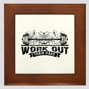 Work Out Train Hard Framed Tile