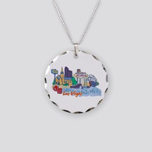 Las Vegas Travel Poster Necklace Circle Charm