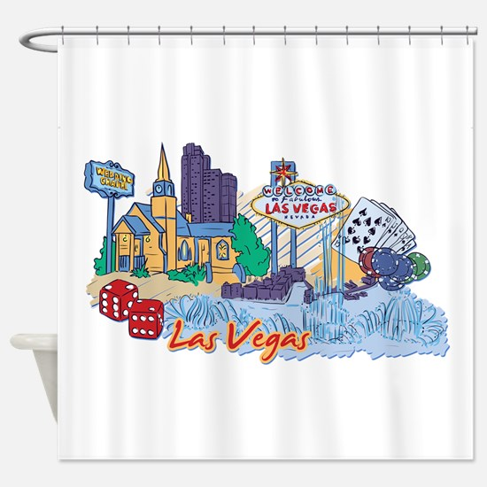 Las Vegas Travel Poster Shower Curtain