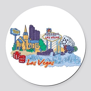 Las Vegas Travel Poster Round Car Magnet