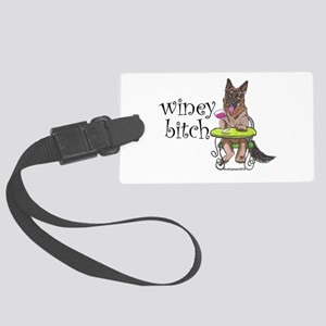 German Shepherd Winey Bitch Large Luggage Tag