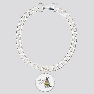 German Shepherd Winey Bi Charm Bracelet, One Charm