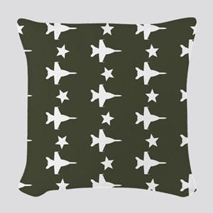 F-18 Hornet Fighter Jet Patter Woven Throw Pillow