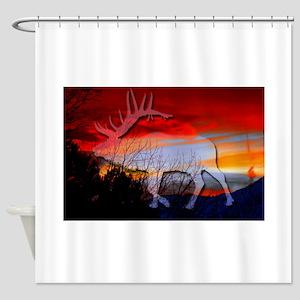 Elk sunset Shower Curtain