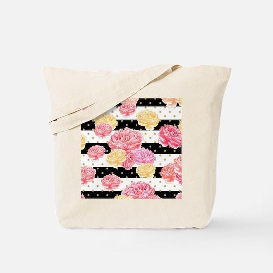 Pink Watercolor Floral Tote Bag