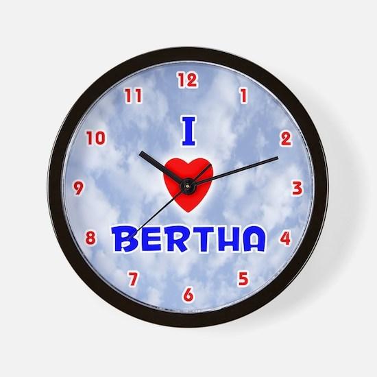 I Love Bertha (Red/Bl) Valentine Wall Clock