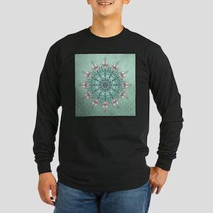 Vintage Floral Long Sleeve Dark T-Shirt