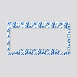 Blue and White Daisy Floral Pattern License Plate