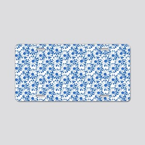 Blue and White Daisy Floral Pattern Aluminum Licen
