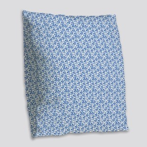 Blue and White Daisy Floral Pattern Burlap Throw P