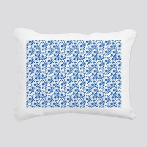 Blue and White Daisy Floral Pattern Rectangular Ca