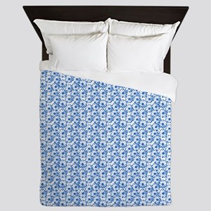 Blue and White Daisy Floral Pattern Queen Duvet