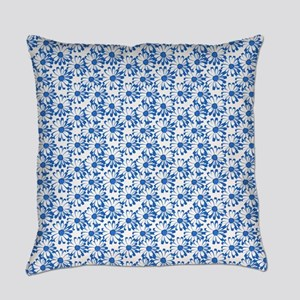 Blue and White Daisy Floral Pattern Everyday Pillo