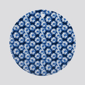 Blue Daisy Floral Pattern Round Ornament