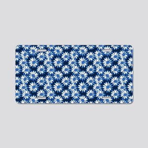 Blue Daisy Floral Pattern Aluminum License Plate