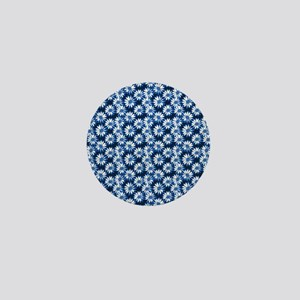 Blue Daisy Floral Pattern Mini Button