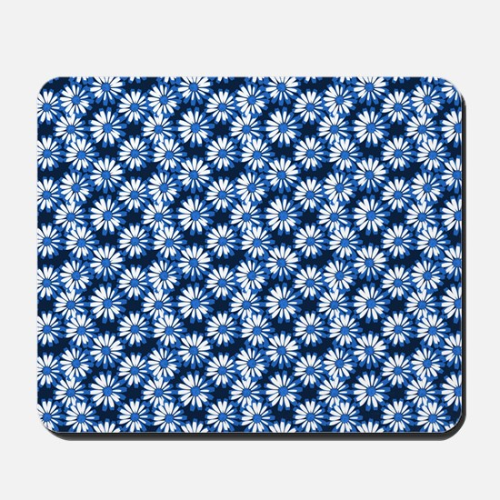 Blue Daisy Floral Pattern Mousepad