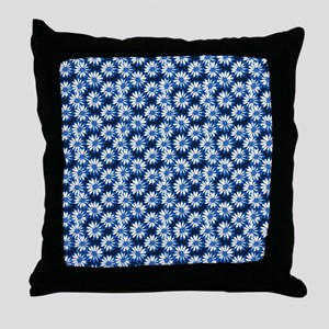 Blue Daisy Floral Pattern Throw Pillow