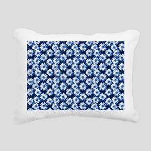 Blue Daisy Floral Pattern Rectangular Canvas Pillo