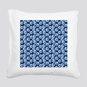 Blue Daisy Floral Pattern Square Canvas Pillow