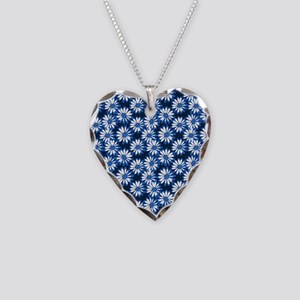Blue Daisy Floral Pattern Necklace