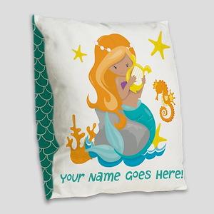 Blond Mermaid Burlap Throw Pillow