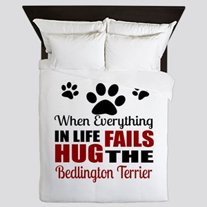 Hug The Bedlington Terrier Queen Duvet