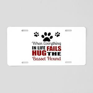 Hug The Basset Hound Aluminum License Plate
