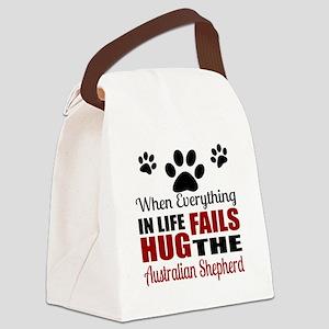 Hug The Australian Shepherd Canvas Lunch Bag