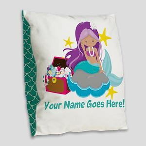 Purple Mermaid Burlap Throw Pillow