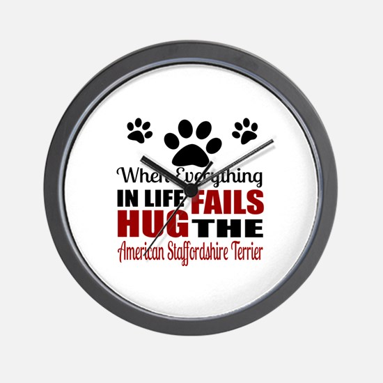 Hug The American Staffordshire Terrier Wall Clock