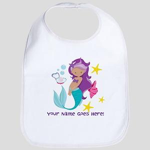 Purple Mermaid Baby Bib