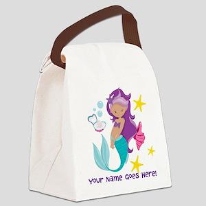 Purple Mermaid Canvas Lunch Bag