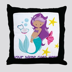 Purple Mermaid Throw Pillow