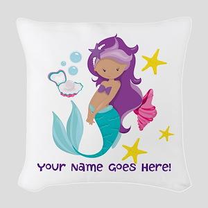 Purple Mermaid Woven Throw Pillow