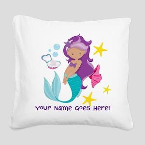 Purple Mermaid Square Canvas Pillow