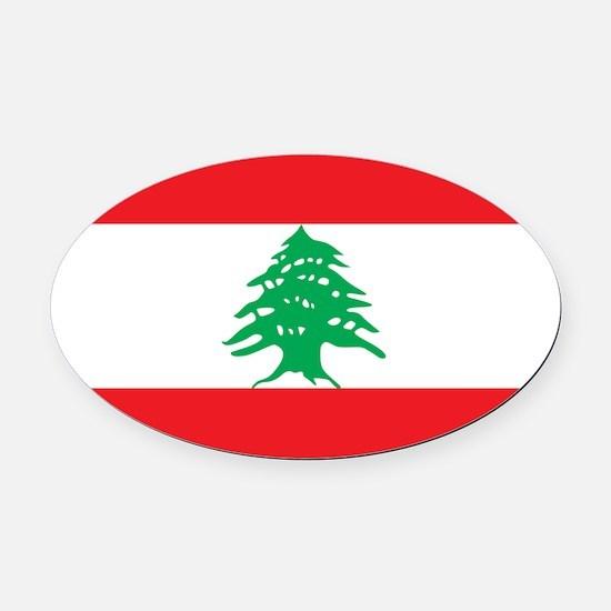 Flag Of Lebanon Oval Car Magnet