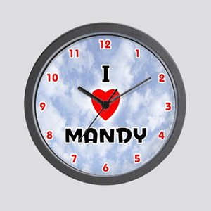 I Love Mandy (Red/Blk) Valentine Wall Clock