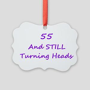 55 Still Turning Heads 1C Purple Ornament
